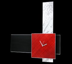 Ultra Modern Multi-Panel Red Clock, Contemporary Industrial, by Sebastian R