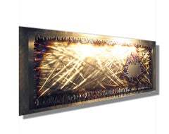 Dimensional Modern Contemporary Torched Metal Wall Sculpture Art, by Sebastian R