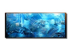 Modern Contemporary Blue Ocean Inspired Metal Wall Art, by Sebastian R