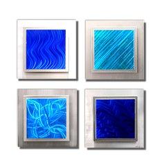 Multi-Panel Painted Metal Set, Blue Modern Contemporary Urban Art, by Sebastian