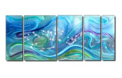 Modern Contemporary Abstract Ocean Inspired Metal Wall Art, by Sebastian R