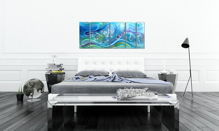 Modern Contemporary Abstract Ocean Inspired Metal Wall Art, by Sebastian R For Sale 1