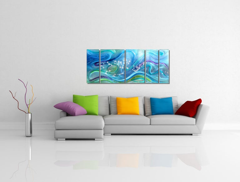 Modern Contemporary Abstract Ocean Inspired Metal Wall Art, by Sebastian R For Sale 2