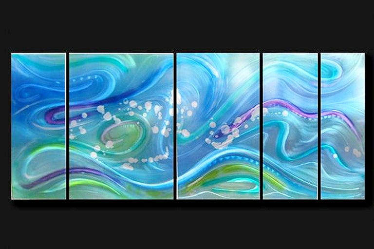 Modern Contemporary Abstract Ocean Inspired Metal Wall Art, by Sebastian R For Sale 3