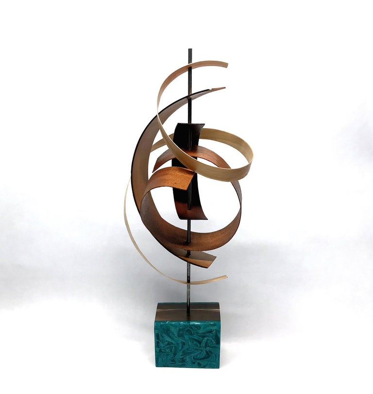 Mid-Century Modern Inspired Wood Sculpture, Contemporary, Jeff Linenkugel - Abstract Mixed Media Art by Jeff Linenkugel