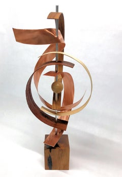 Mid-Century Modern Inspired Wood & Copper Sculpture, Jeff Linenkugel