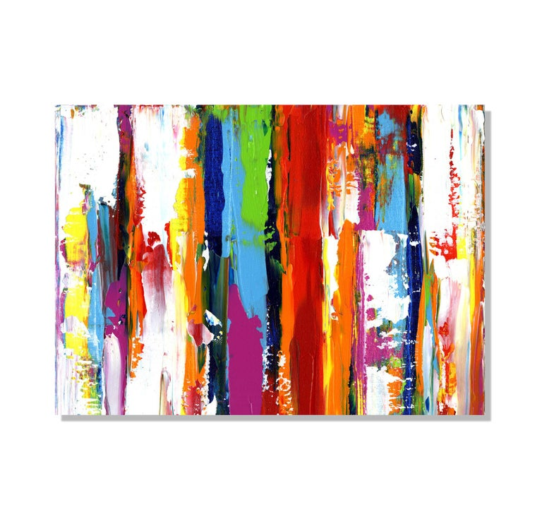 This contemporary colorful abstract painting is printed on a lightweight metal composite and comes ready to hang. The automotive high-gloss clear coat offers both UV protection and high-end modern finish. This vibrant composition can be hung both