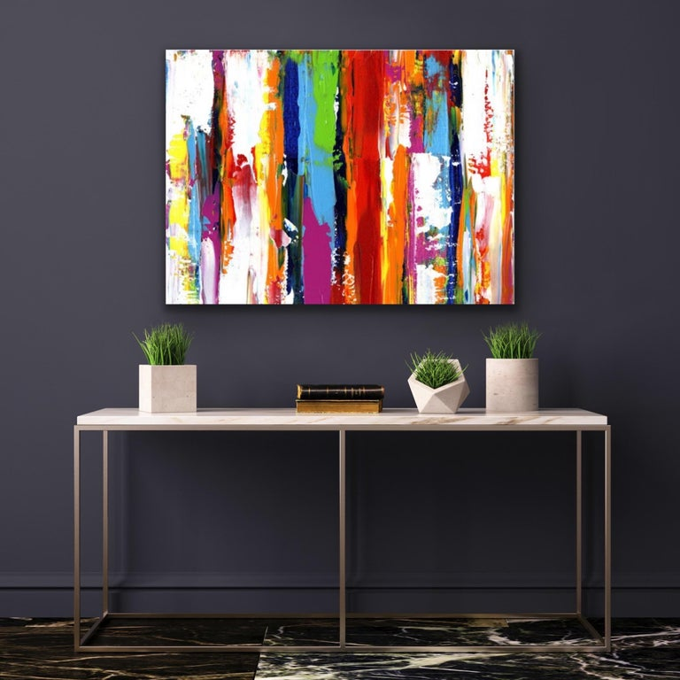Contemporary Colorful Abstract Painting, Modern Giclee Print on Metal, by Cessy  For Sale 4