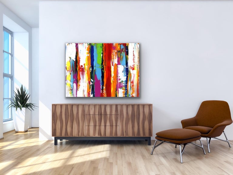 Contemporary Colorful Abstract Painting, Modern Giclee Print on Metal, by Cessy  For Sale 5