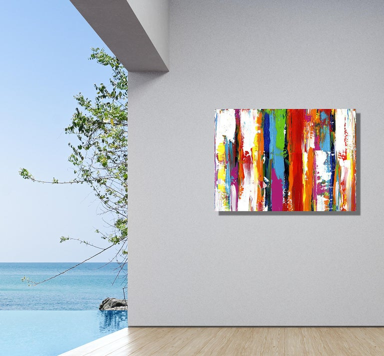 Contemporary Colorful Abstract Painting, Modern Giclee Print on Metal, by Cessy  For Sale 2