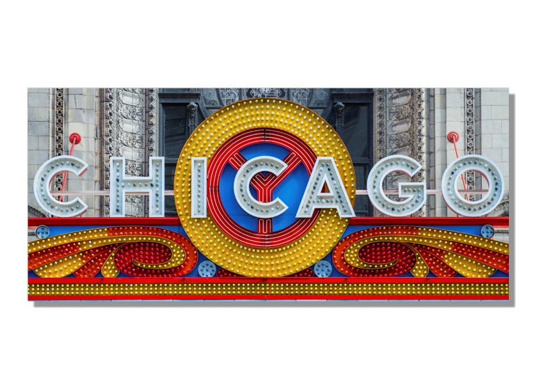 Scott F.  Landscape Print - Chicago Theatre Marquee, Original Photography, Giclee on Metal, by Scott F.
