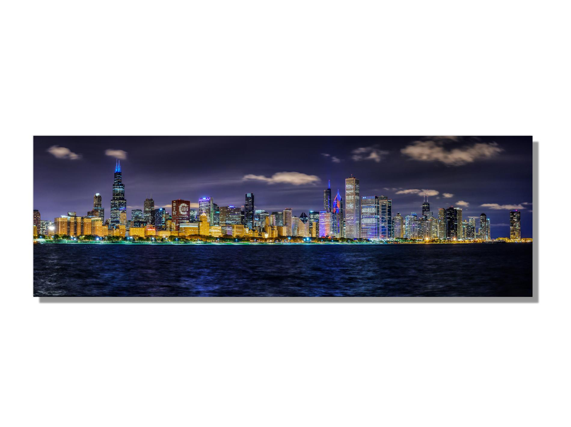"""Panoramic Chicago Skyline Large 60"""" Giclee Photography on Metal by Scott F."""
