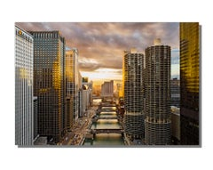 Chicago River Skyline Sunset, Landscape Photography, Giclee on Metal by Scott F.