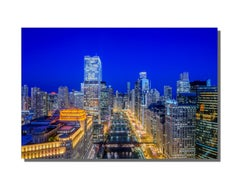Aerial Chicago Twilight Cityscape, Landscape Photography on Metal by Scott F.