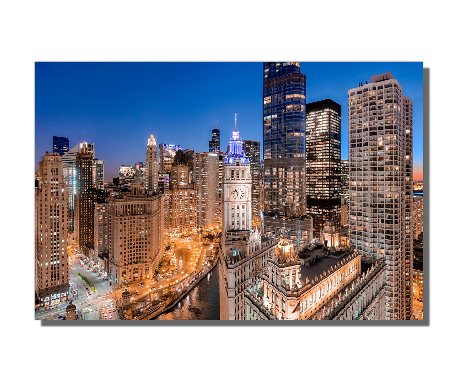 Aerial Photography, Chicago's Wacker Drive, Giclee on Metal, by Scott F.