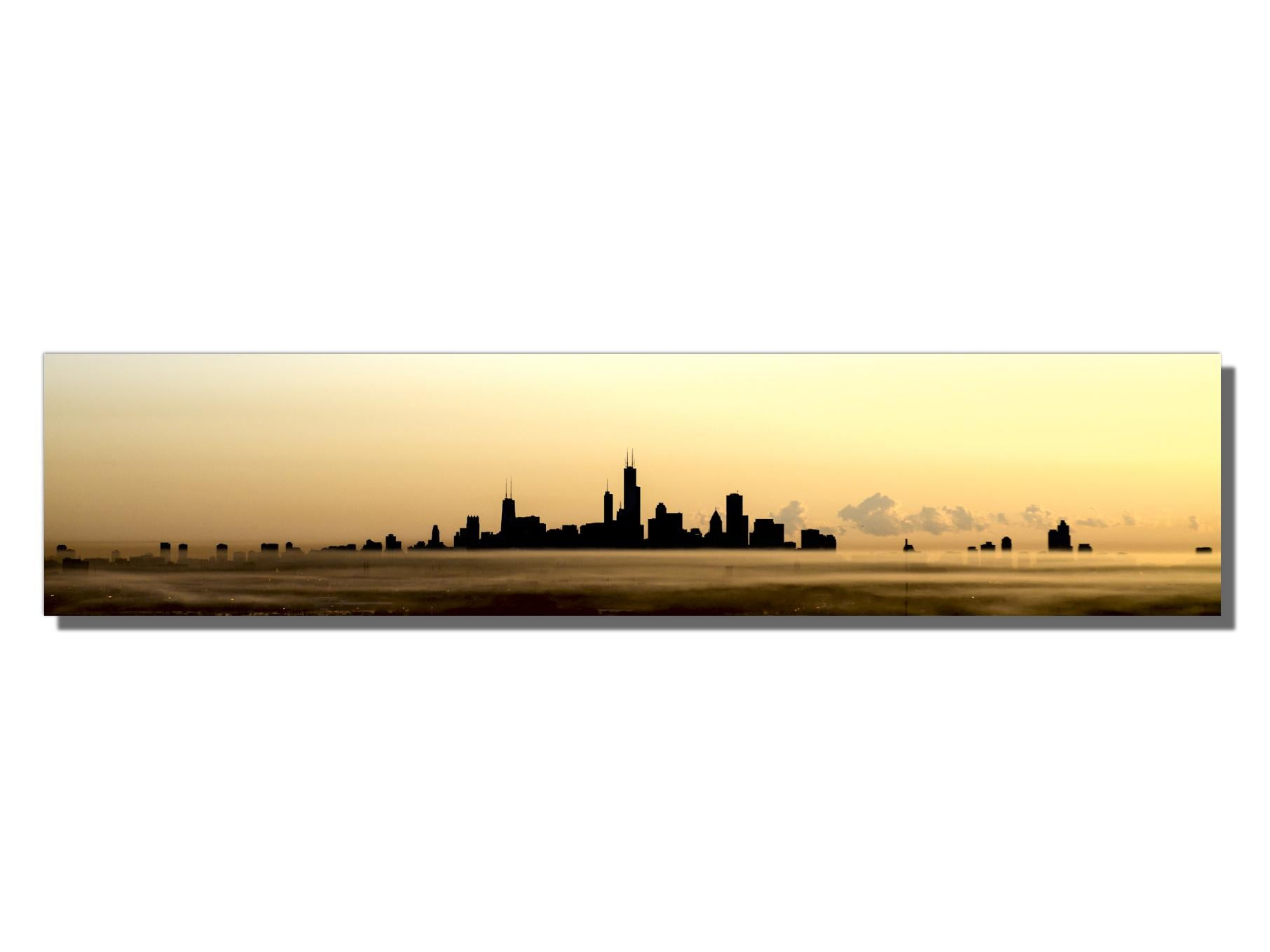 Panoramic Chicago Skyline Silhouette, Photography, Giclee on Metal by Scott F.