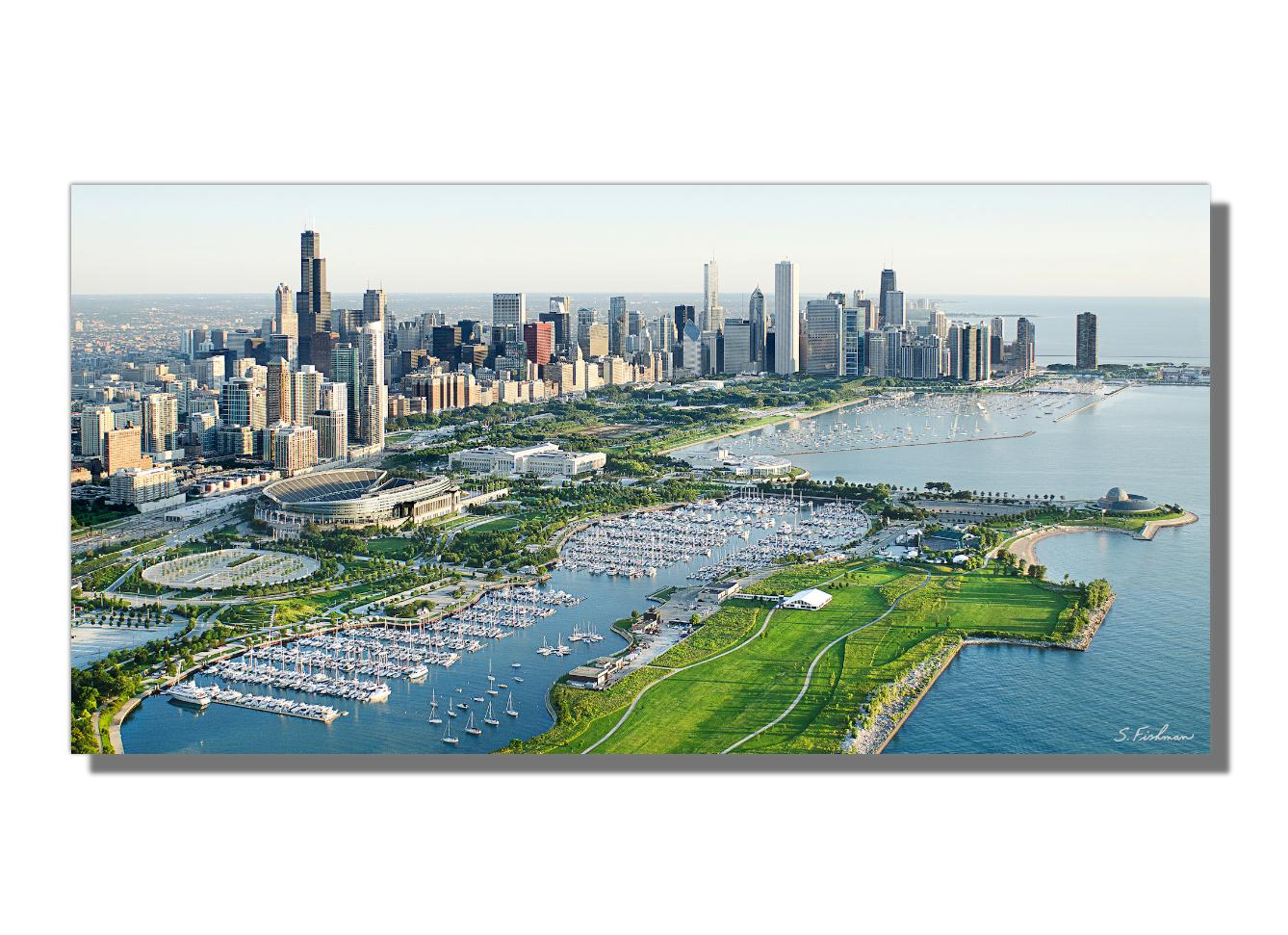 Chicago Skyline, Soldier Field, Lakefront Aerial, Giclee on Metal by Scott F.