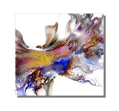 Colorful Modern Abstract Painting, Giclee Print on Metal, Indoor Outdoor, Cessy