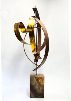 Wood Metal Sculpture, Mid-Century Modern Inspired, Original Contemporary Art