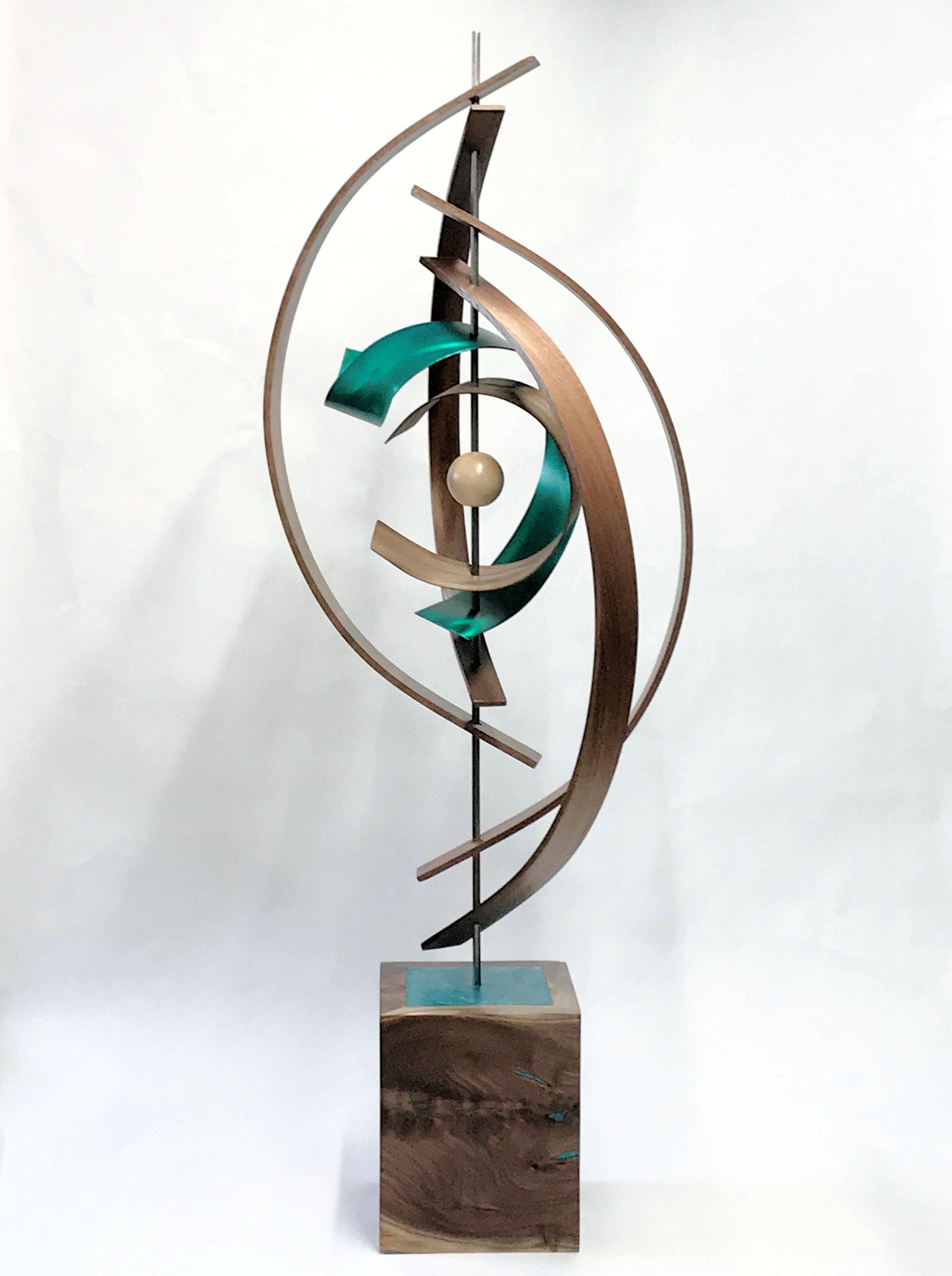 Mid-Century Modern Inspired, Wood Metal Sculpture, Original Contemporary Art