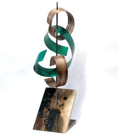 Mid-Century Modern Inspired, Original, Contemporary, Wood Green Metal Sculpture