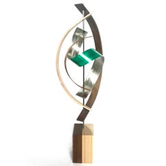 Mid-Century Modern Inspired,  Contemporary Wood Metal Sculpture, by Jeff L.