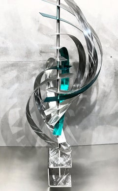 Modern Contemporary Metal Sculpture, Mid-Century Inspired Metal Art, by Jeff L.