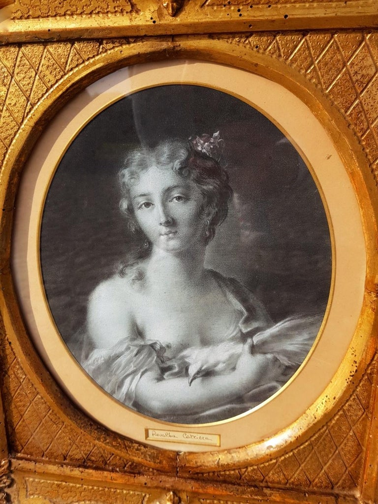 18th century Italian figurative painting Allegory - Portrait pencil paper Venice - Brown Portrait Painting by Rosalba Carriera