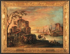 18th century Italian landscape painting - Venetian figures oil on canvas Venice