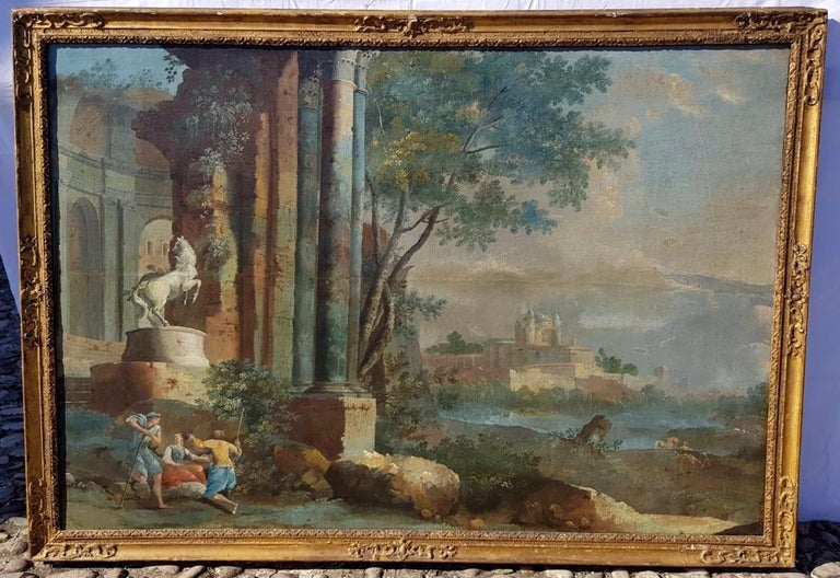 18th century Italian landscape painting - Architectural view - Tempera on canvas - Rococo Painting by Pietro Paltronieri, called Mirandolese