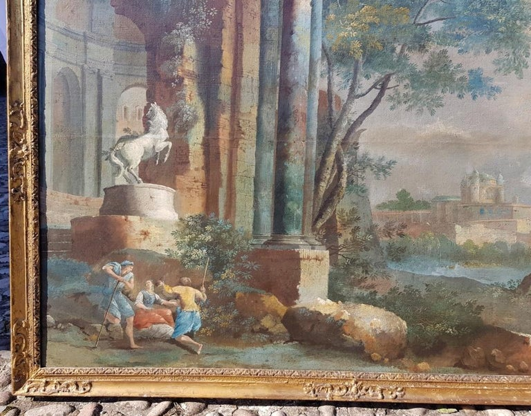 18th century Italian landscape painting - Architectural view - Tempera on canvas - Brown Landscape Painting by Pietro Paltronieri, called Mirandolese