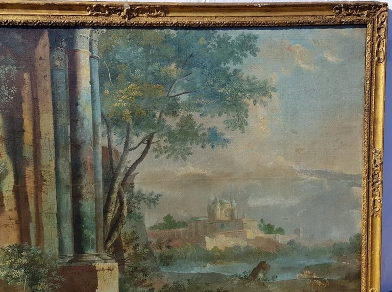 18th century Italian landscape painting - Architectural view - Tempera on canvas For Sale 1