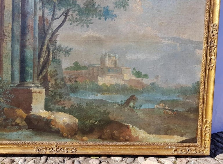 18th century Italian landscape painting - Architectural view - Tempera on canvas For Sale 2