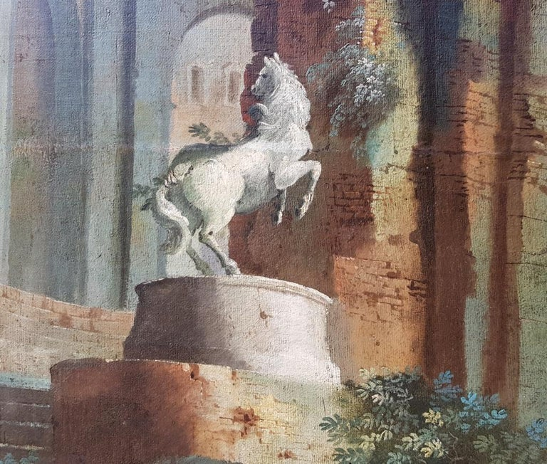 18th century Italian landscape painting - Architectural view - Tempera on canvas For Sale 3