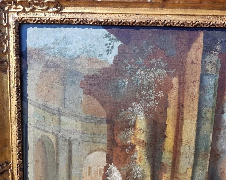 18th century Italian landscape painting - Architectural view - Tempera on canvas For Sale 4
