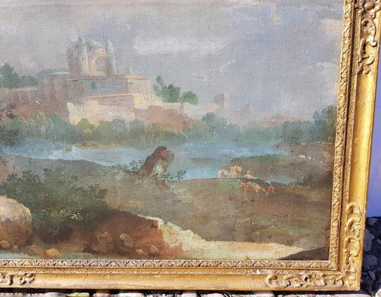18th century Italian landscape painting - Architectural view - Tempera on canvas For Sale 5