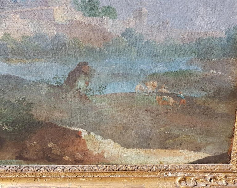 18th century Italian landscape painting - Architectural view - Tempera on canvas For Sale 6