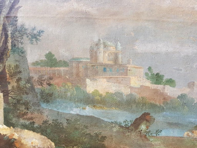 18th century Italian landscape painting - Architectural view - Tempera on canvas For Sale 7