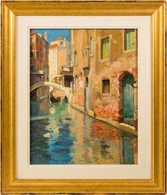 19th century Italian painting view of Venice figure Venetian oil on canvas Italy