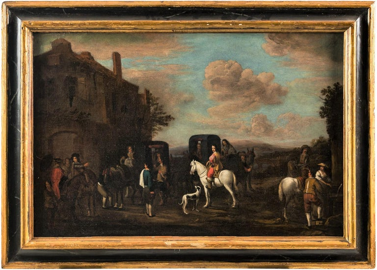 Carel van Falens Figurative Painting - 18th century Italian landscape painting - Knights figures oil on canvas Italy