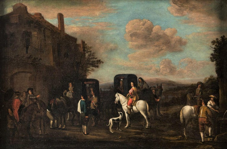 18th century Italian landscape painting - Knights figures oil on canvas Italy - Painting by Carel van Falens