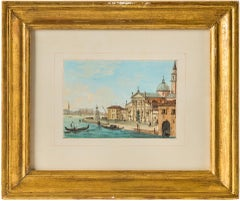 19th century Italian painting view of Venice - Venetian tempera on paper Italy