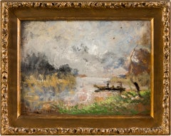 19th century Italian landscape painting - Oil on panel Impressionist Italy