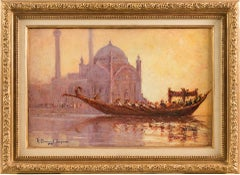 19th century French Orientalist painting - Istanbul view - Oil on canvas dawn