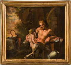 Pair of 18th century Italian mythological painting - Satyr figures Oil on canvas
