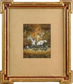 19th century Italian figurative painting - Horseman - Watercolor on paper Figure