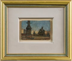 Early 20th Century painting - View Rome, Oil on paper Coliseum Italy