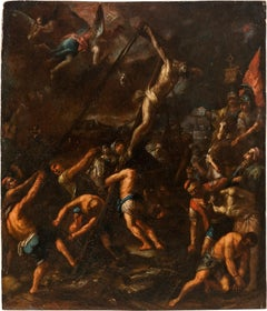 17th century Italian figurative painting - Elevation of Cross - Oil - Baroque