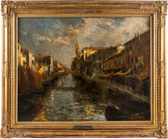 19th century Venetian view painting - Chioggia - Oil on canvas Bazzaro Venice