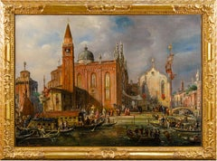19th century Italian landscape painting - View of Venice - Oil on canvas Zanin